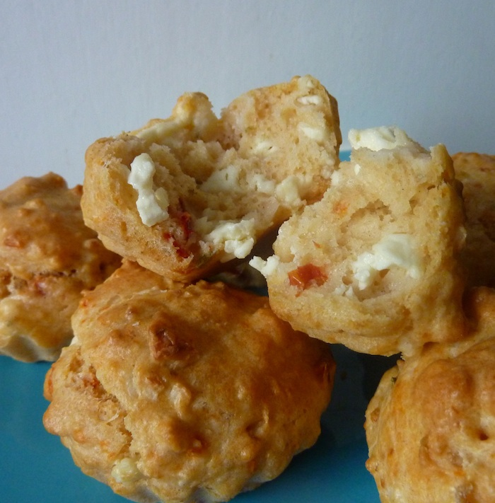 making baby-friendly muffins (feta and courgette)