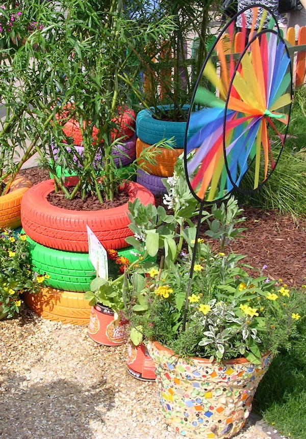 painted tyre garden planters