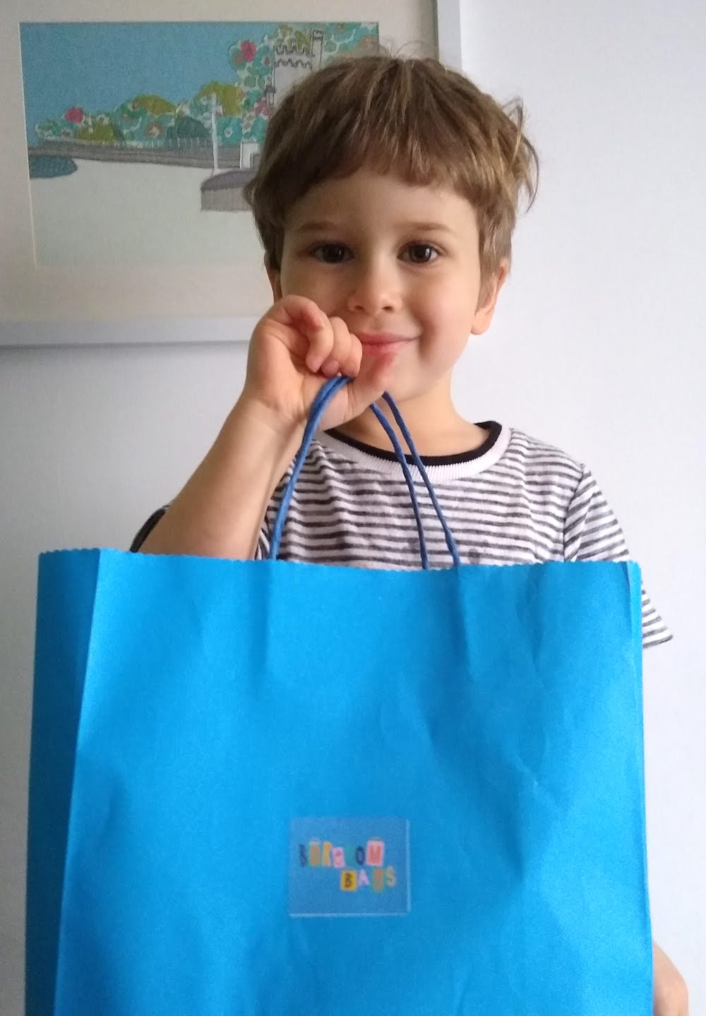 4 year old boy with Boredom Bag - nipitinthebud.co.uk
