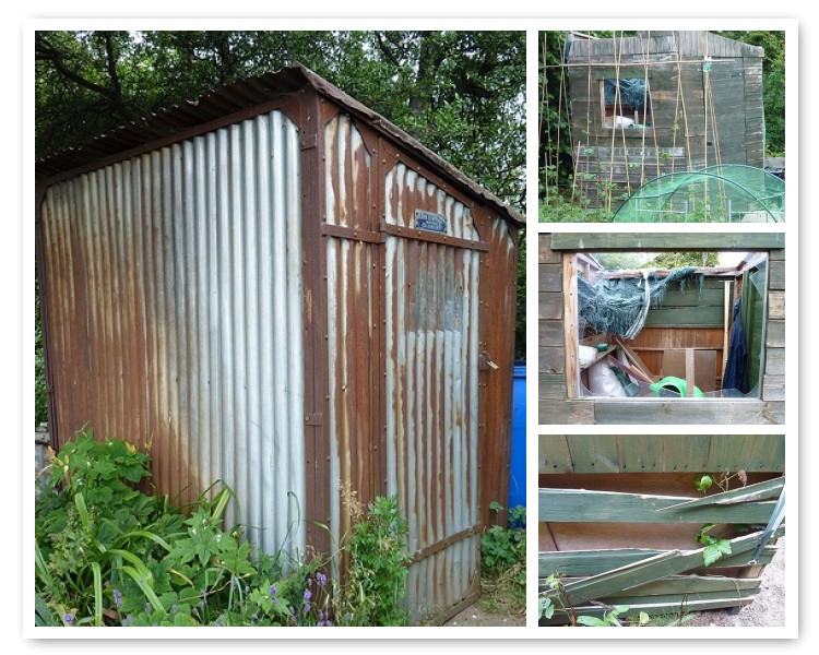 Pat's inpenetratable shed and our recycled then vandalised version