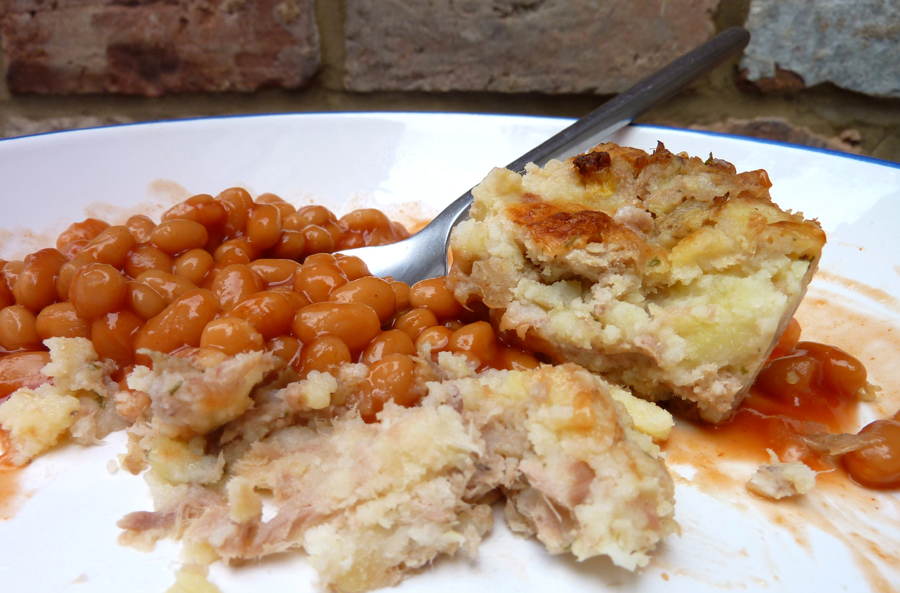 dinner - lunching on leftover fish cakes