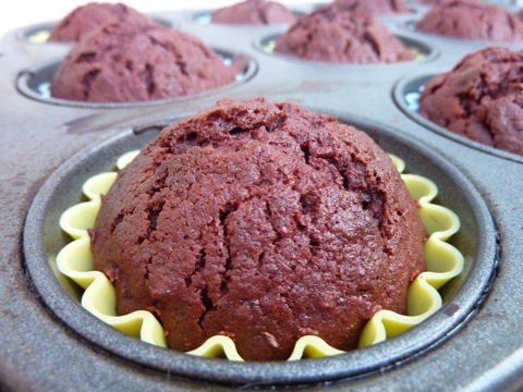 making beetroot and chocolate cupcakes