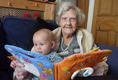25-6-12 - Euan and Granny reading 4B
