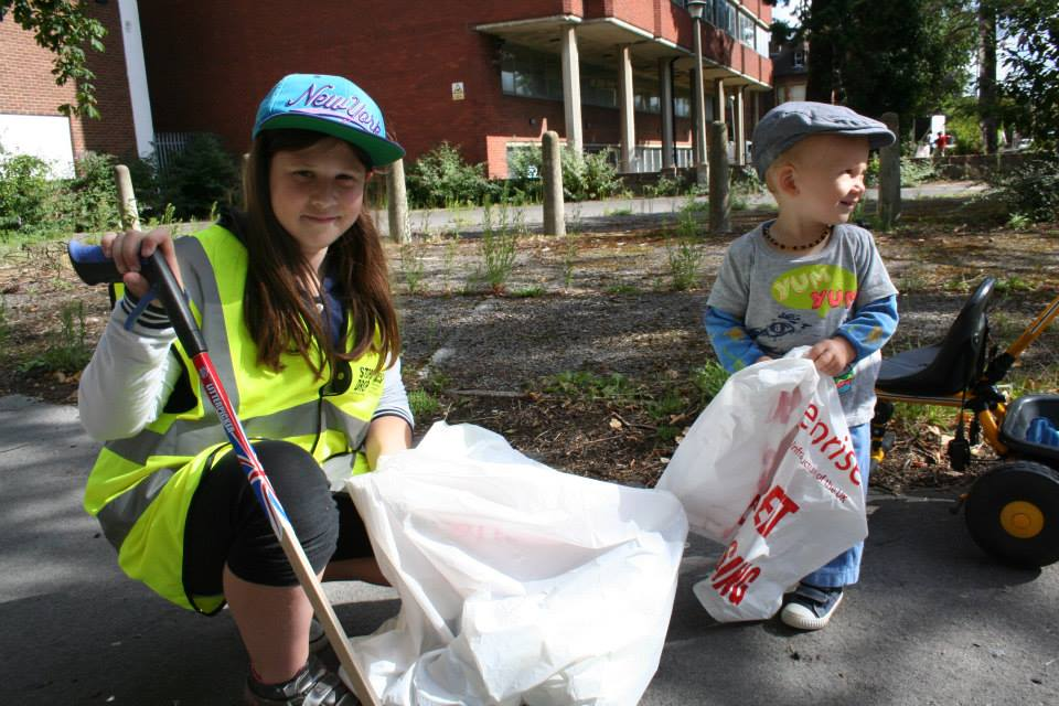 E and Evie litter picking 4B
