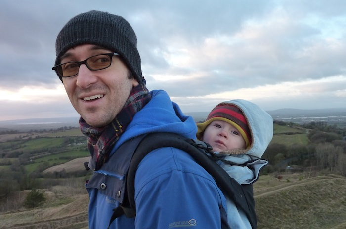 1-1-13 - Painswick Beacon walk - E on Daddy's back 4B