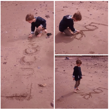 Collage _ E writing on Dunster beach copy 4B