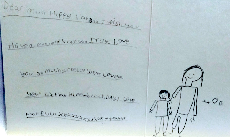 Birthday card for Mummy from E