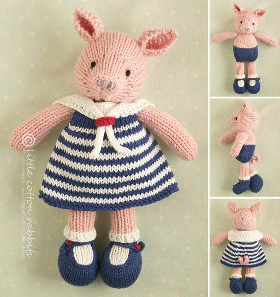 Little Cotton Rabbits - pig in a sailor dress knitting pattern
