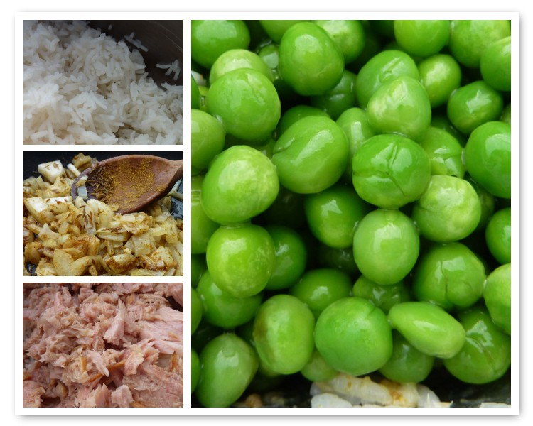 pea and tuna kedgeree ingredients
