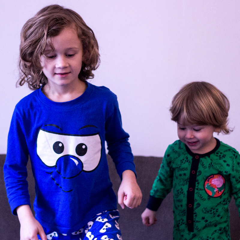 Brothers wearing Pyjama Factory PJs for review IG - nipitinthebud.co.uk